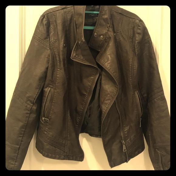 LA Coalition m Jackets & Blazers - Medium dark brown leather biker jacket.